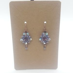 Lia Sophia Blue Purple White Crystal Earrings
